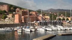 The port of Rio Marina, Elba Island, Italy - Panorama Stock Footage