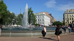 Fountain in the historic center of St. Petersburg Stock Footage