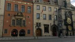 Tilt up the astronomical clock tower Prague Stock Footage
