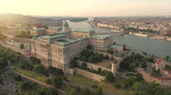 Aerial view of Budapest at sunset - Buda castle, Hungary Stock Footage