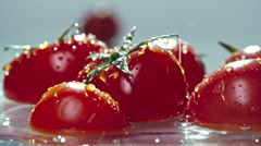 Fresh Tomatoes in Water Stock Footage