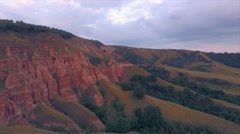 Aerial view of stunning red ravine hillside on a natural reservation Stock Footage