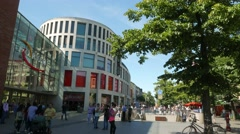 4K Downtown Forum shopping center square of King Heinrich in Duisburg NRW Stock Footage