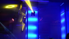 Lasers, mirror balls, smoke and light show on the dance floor in a club. Stock Footage
