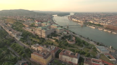Aerial shot of Budapest at sunset - Buda castle and Danube river, Hungary Stock Footage