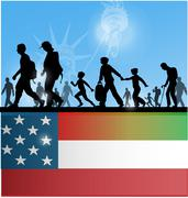 American people immigration background with flag Stock Illustration