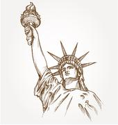 Statue of liberty hand dawn Stock Illustration