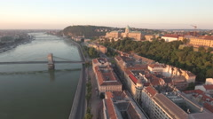 Aerial view of Budapest at sunrise - Buda castle and Chain bridge, Hungary Stock Footage