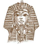 Golden mask of Egyptian pharaoh Stock Illustration
