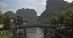 Bridge over the river in Trang An, Vietnam Stock Footage