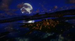 Flight above Earth at night, full moon Stock Footage