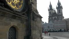 Tilt up the astronomical clock tower Stock Footage