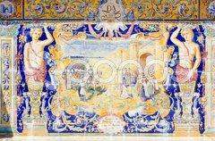 Tile painting, Spanish Square (Plaza de Espana), Seville, Andalusia, Spain Stock Photos