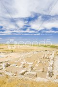 Archaeological place, Roman city of Segobriga, Saelices, Castile-La Mancha, Spai Stock Photos