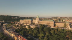 Aerial view of Budapest - Buda castle at sunrise, Hungary Stock Footage