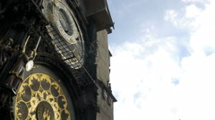 Tilt down the astronomical clock tower Stock Footage