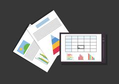 Graph charts paper documents office related items icon Piirros