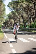 Grosseto, Italy - May 09, 2014: The cyclist without an arm and feet with the Stock Photos