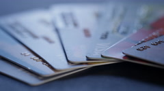Credit cards on a table close-up Stock Footage