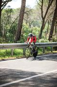 Grosseto, Italy - May 09, 2014: The cyclist without feet with the bike during Stock Photos
