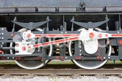 Detail of steam locomotive, Visegrad, Bosnia and Hercegovina Stock Photos