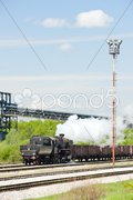 Steam freight train in Tuzla region, Bosnia and Hercegovina Stock Photos
