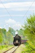Steam freight train in Tuzla region, Bosnia and Hercegovina Stock Photos
