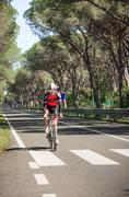 Grosseto, Italy - May 09, 2014: The disabled cyclist with the bike during the Stock Photos