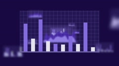 Growing graph charts on a grid Stock Footage