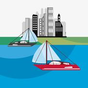 Sail boat icon Stock Illustration