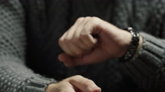 Male hands on the table excitement and anxiety Stock Footage