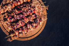 Meat kebab skewers on the grill, chicken hearts, Stock Photos