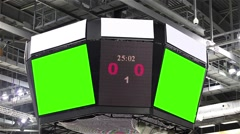 Scoreboard at the stadium with a green screen and banners. Stock Footage
