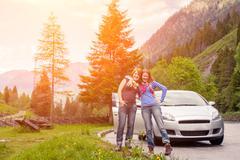 Traveling by car on the Dolomites Kuvituskuvat