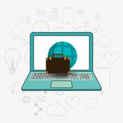 Laptop and telecommunication related icons Stock Illustration