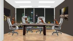 Ants in the office sitting at the negotiating table Stock Photos