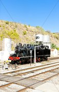 Steam locomotive at railway station in Tua, Douro Valley, Portugal Stock Photos