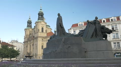 Static shot of the statue of Jan Husa Prague Stock Footage