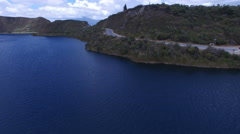 On the Shores of the Volcanic Lake Cuicocha in the Andes Stock Footage