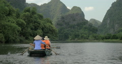Boat tour along the river in Ha Long Bay, Vietnam Stock Footage
