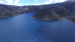 Near the Islands of Volcanic Lake Cuicocha in the Andes Stock Footage