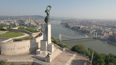 Aerial view of Budapest - Citadell, Liberty statue, Danube river, Hungary Stock Footage