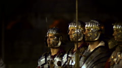 Ancient Roman empire soldiers historical reenactment Stock Footage