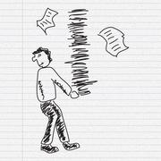 Doodle sketch of a man carrying paperwork on paper background Stock Illustration