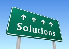 Solutions road sign concept illustration Stock Illustration