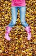 Detail of woman in autumnal nature Stock Photos
