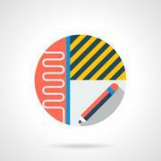 House renovation service round flat vector icon Stock Illustration