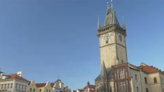 Tilt down the astronomical clock tower Prague Stock Footage