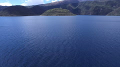 The Blue Waters of Lake Cuicocha in the Andes Stock Footage