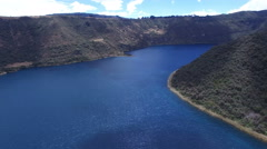 The Deep Blue Volcanic Lake Cuicocha in the Andes Stock Footage